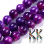 Tumbled round beads made of dyed natural mineral crazy agate imitating sugilite with a diameter of 8 mm with a hole for a thread with a diameter of 1 mm. The beads are completely natural, they have been dyed and the colors have been fixed with heat. Country of origin: South Africa THE PRICE IS FOR 1 PCS.