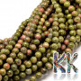 Tumbled round beads made of unakite mineral with a diameter of 4 mm and a hole for a thread with a diameter of 1 mm. The beads are absolutely natural without any dye. Country of origin: Brazil THE PRICE IS FOR 1 PCS.