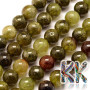 Tumbled round beads made of natural green garnet with a diameter of 6 mm and a hole for a thread with a diameter of 1 mm. The beads are absolutely natural without any dye. Country of origin: Brazil THE PRICE IS FOR 1 PCS.