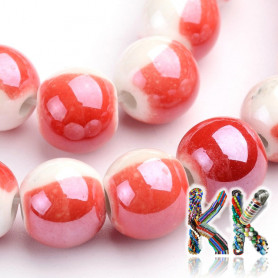 Porcelain beads - two-colored, glazed - ∅ 8 - 9 mm - beads