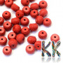 Beads in the shape of arondellemade of imitationcinnabarin a brick red color measuring 10 x 7-8 mm with a hole for a thread with a diameter of 2 mm. The beads were made from a mixture of red-colored resin and dust-crushed natural stone. Country of origin: China THE PRICE IS FOR 1 PCS.
