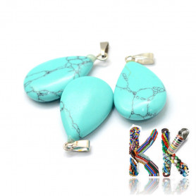 Synthetic turquoise -25-29 x 16-17 x 5-6 mm - pendant - drop