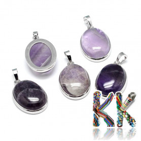 Natural amethyst - 31 x 20 x 7.5 mm - oval pendant