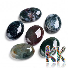 Mineral cabochon - moss agate - 30 x 22 x 9 mm - oval