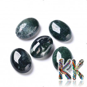 Mineral cabochon - moss agate - 14 x 10 x 5 mm - oval