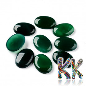 Mineral cabochon - green agate - 30 x 22 x 6.8 mm - oval