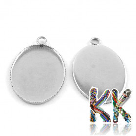 Oval pendant with 304 stainless steel bed - for cabochon 25 x 18 mm