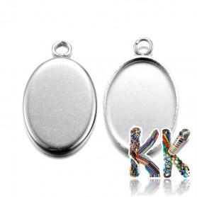Oval pendant with 304 stainless steel bed - for cabochon 14 x 10 mm