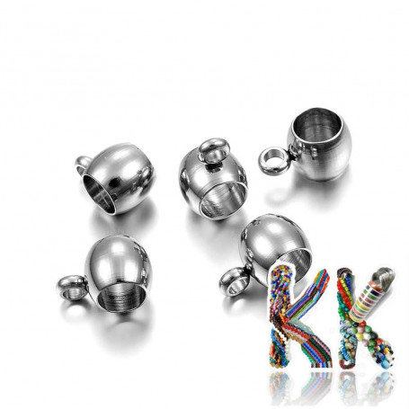 304 stainless steel bead with eye - 9 x 6 x 5 mm