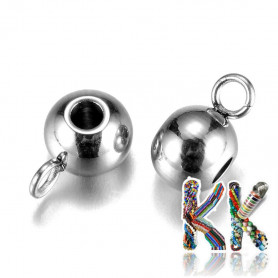 304 stainless steel bead with eye - 9 x 5 x 6 mm