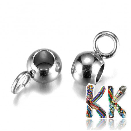 304 stainless steel bead with eye - 7 x 3.5 x 4 mm