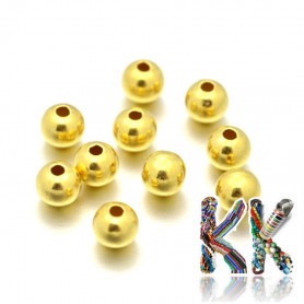 Separating bead made of sterling silver (925 Ag) - surface 24 K gold - ball - Ø 3 mm