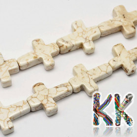 Natural white turquoise - cross - 20 x 16 x 6 mm