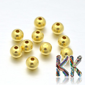 Sterling silver separating bead (925 Ag) - surface 24 K gold - ball - ∅ 2 mm