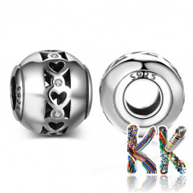 Thai silver wide bead (925 Ag) with zircons - 11 x 10 mm
