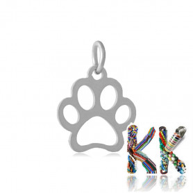 Pendant made of 304 stainless steel - dog paw - 13 x 12 x 1 mm