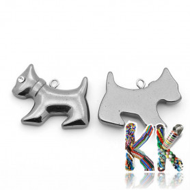 Pendant made of synthetic nemag. hematite - dog - 22 x 27 x 5 mm - quality AA