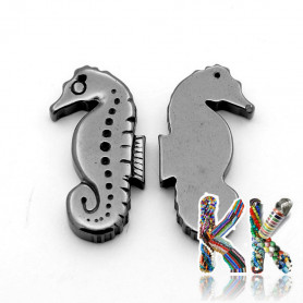 Pendant made of synthetic nemag. hematite - seahorse - 29 x 15 x 4 mm - quality AA