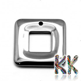 Pendant made of synthetic nemag. hematite - square - 29 x 29 x 3 mm - quality AA