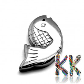 Pendant made of synthetic nemag. hematite - fish - 31 x 18 x 4 mm - quality AA