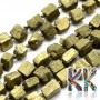 Tumbled beads in the shape of nuggets made of absolutely natural pyrite with dimensions 5-8 x 5-7 x 5-7 mm and with a hole for a thread with a diameter of 1 mm. The beads are absolutely natural without any dye. Country of origin: Brazil THE PRICE IS FOR 1 PCS.