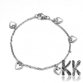 316 Stainless steel wrist snake chain with carabiner - length 18 cm