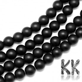 Frosted glass beads - black opaque - ∅ 10 mm