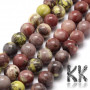 Tumbled round beads made of natural mineral cherry jasper (or cherry blossom jasper) with a diameter of 8 mm with a hole for a thread with a diameter of 1 mm. The beads are absolutely natural without any dye. Country of origin: China THE PRICE IS FOR 1 PCS.
