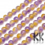 Tumbled round beads made of dyed natural mineral Malaysian jade imitating natural amethrine with a diameter of 8 mm with a hole for a thread with a diameter of 1 mm. The beads are completely natural and have been dyed. Country of origin: China THE PRICE IS FOR 1 PCS.