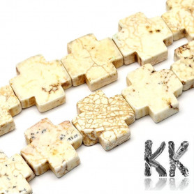 Natural white turquoise - Greek cross - 20 x 20 x 6 mm