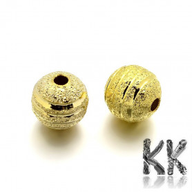 Brass beads with stardust - ∅ 8 mm - decorated ball