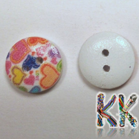 Wooden button - with print - ∅ 15 x 4 mm - colored hearts