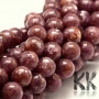 Tumbled round beads made of natural mineral lepidolite (purple mica variety) with a diameter of 8 mm with a hole for a thread with a diameter of 1 mm. The beads are completely natural without any dye. Country of origin: China THE PRICE IS FOR 1 PCS.