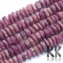 Tumbled round beads made of natural mineral ruby with a diameter of 10-12 x 1.5-5 mm with a hole for a thread with a diameter of 1 mm. The beads are completely natural without any dye. Please note that ruby beads do not have a gemstone quality, purity, color or color saturation - they are beads made from the edge of a ruby vein. Country of origin: Myanmar THE PRICE IS FOR 1 PCS.