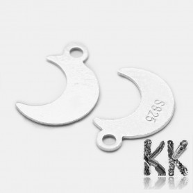 Sterling silver pendant (925 Ag) - moon - 11 x 7 x 0.5 mm