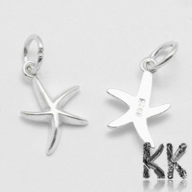 Sterling silver pendant (925 Ag) - starfish - 15 x 9.5 x 2 mm