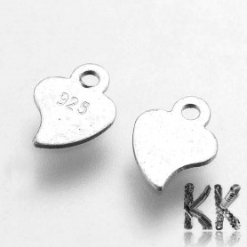 Sterling silver pendant (925 Ag) - heart - 7.5 x 5.5 x 0.2 mm