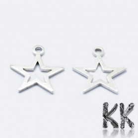 Sterling silver pendant (925 Ag) - star - 11 x 9.5 x 0.8 mm