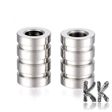 304 Wide-threaded stainless steel bead - grooved roller - ∅ 9 x 6 mm