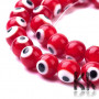 Glass handmade beads (so-called coiled pearls) in the shape of a ball with the decor of the devil's eyes with a diameter of 8 mm and a hole for a draw with a diameter of 1 mm. Please note that individual beads may vary due to handmade production. Beads are sold whole strings. There are approx. (48 to 53 pieces of beads) on one string.THE MENTIONED PRICE IS FOR 1 LINE / Approx
