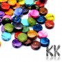 Plastic beads made of drawn spray-decorated acrylic material in the shape of flat circles with a diameter of 9 mm, a height of 3.5 mm and a hole for a thread with a diameter of 1 mm.Notice - The beads are offered in packs of 10 grams and the color composition of each pack is purely random. The color composition in the illustration is so purely indicative.THE PRICE IS FOR 10 g (approx. 55 PCS)