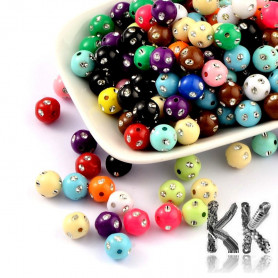 Mix of acrylic beads (with metal ornaments) - Ø 8 mm. (amount 25 g).