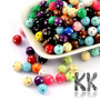 Plastic round beads made of acrylic material with metal plated round dents with a diameter of 8 mm and a hole for a thread with a diameter of 2 mm. THE PRICE IS FOR 10 g (approx. 40 PCS).