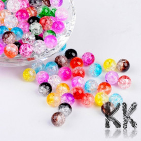Mix of acrylic two-color cracked beads - Ø 8 (amount 25 g).