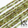 Tumbled and faceted round beads made of natural mineral green garnet with a diameter of 3 mm and a hole for a thread with a diameter of 0.6 mm. The beads are completely natural without any dye. Country of origin Brazil THE PRICE IS FOR 1 PCS.