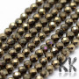 Tumbled and faceted round beads made of pyrite mineral with a diameter of 2 mm with a hole for a thread with a diameter of 0.5 mm. The beads are absolutely natural without any dye. Country of origin China THE PRICE IS FOR 1 PCS.