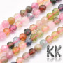 Tumbled and faceted round beadsmade of tourmaline mineral with a diameter of 2 mm with a hole for a thread with a diameter of 0.5 mm. The beads are absolutely natural without any dye. Country of origin Brazil THE PRICE IS FOR 1 PCS.