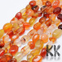 Tumbled beads in the shape of nuggets made of natural carnelian mineral with dimensions 8-15 x 5-10 mm with a hole for a thread with a diameter of 1 mm. The beads are absolutely natural without any dye. Country of origin Brazil THE PRICE IS FOR 1 PCS.