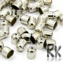 Iron bell-shaped endcaps with a colored finish suitable for finishing crocheted bracelets or necklaces with an inner diameter of 7 mm. The overall dimension of the terminal is 9 x 8 mm and the hole has a diameter of 1.5 mm. A suitable jewelery glue is required to glue the caps. THE PRICE IS FOR 1 PCS.