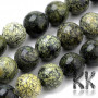 Tumbled beads in the shape of balls made of natural mineral serpentine with a diameter of 6 mm with a hole for a thread with a diameter of 1 mm. The beads are absolutely natural, without any coloring.Country of origin ChinaTHE PRICE IS FOR 1 PCS.